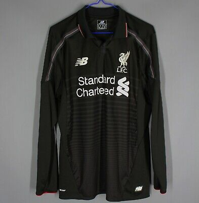 LIVERPOOL THIRD FOOTBALL SHIRT JERSEY 2015-2016 LONG SLEEVE BLACK RARE SIZE M image