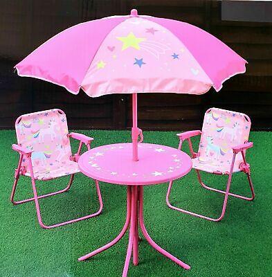 Unicorn 4pcs Kids Garden Outdoor Table Chairs Parasol Patio Set