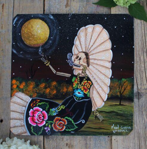 Day of the Dead Tin Retablo Tehuana Skeleton & Cigarette Oaxaca Mexican Folk Art