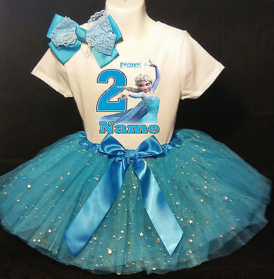 Frozen Elsa 2nd  Birthday dress --With NAME-- party Tutu outfit - Frozen Birthday Outfit