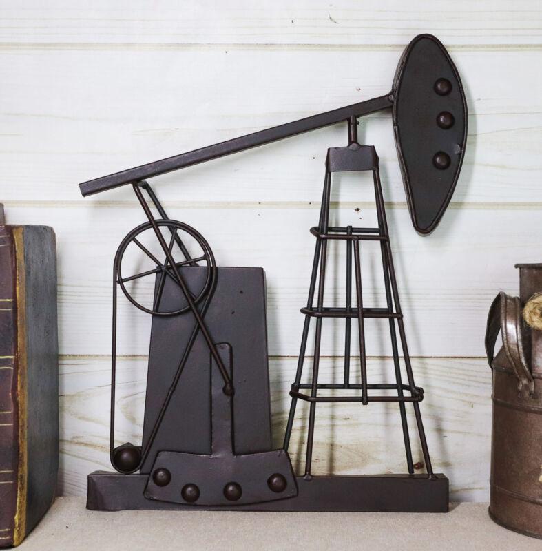 Ebros Rustic Metal Vintage Oil And Gas Derrick Rig Pump Jack Wall Art Decor 3D