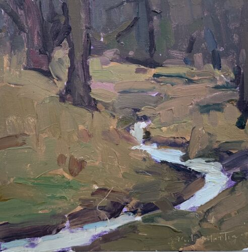 Original Plein Air Painting By Wisconsin Artist Kyle Martin Winter Stream - $69.00