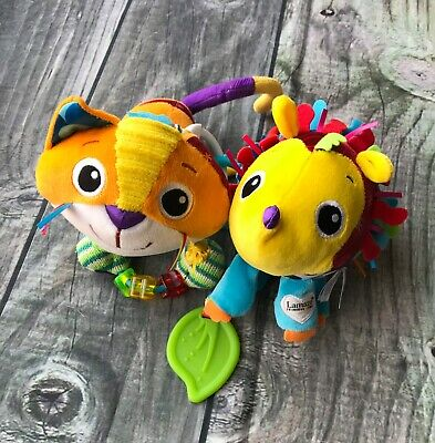 Lot of 2 Lamaze Baby Toys Cat & Hedge Hog Extra Rings Colorful Plushie Animals