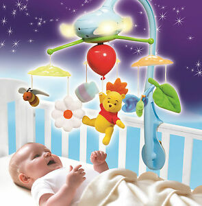 Winnie the Pooh Dream Clouds Cot Crib Mobile Musical Toy Lights Music - T27127