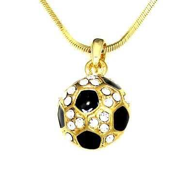SOCCER BALL CRYSTAL CHARM PENDANT GOLD NECKLACE NWT SPORTS