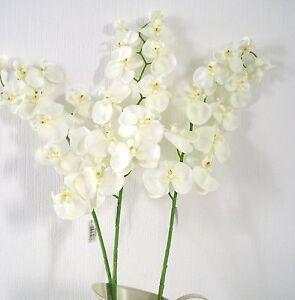 QUALITY ARTIFICIAL/ SILK FLOWERS  3 STEMS  PHALAENOPSIS ORCHID SPRAY  IVORY
