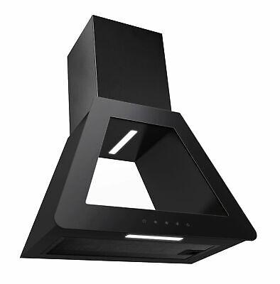 PKM Campana Extractora Cristal Negro Campana de Diseño LED 60cm Control Táctil