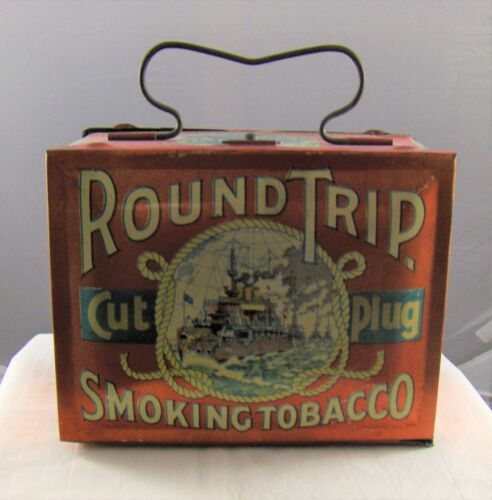 """Vintage Tobacco Advertising Tin """" ROUND TRIP """" Lunchbox - Empty Container"""