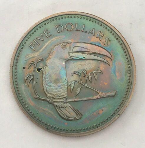 1976 BELIZE 5 DOLLARS PROOF STUNNING UNC MULTI COLOR TONED GEM CHOICE BU (MR)