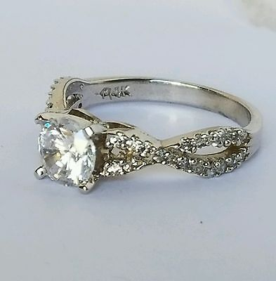 14k real White  Gold 1 tcw Round Engagement Wedding  Ring s 6
