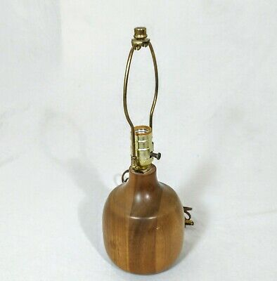 Mid Century Modern Danish Table Lamp Minimalist Cylindical Dark Wood MCM