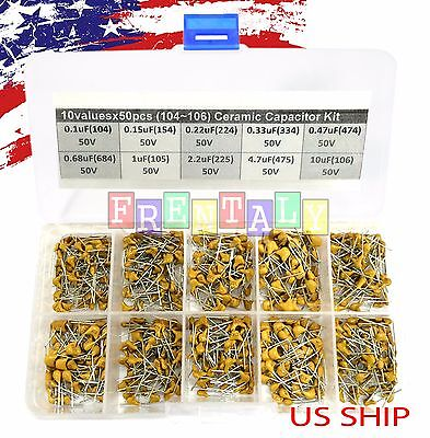 10 Types X 50 0.1uf10uf 104106 Monolithic Ceramic Capacitor Assorted Kit Box