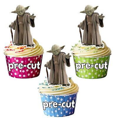 Yoda Star Wars Themen Vorgeschnitten Essbare Cupcake Topper Kuchen Dekoration ()