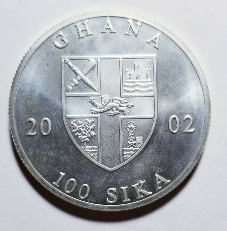 2002 Ghana Silver 100 Sika 1 Crown .9963 ASW Priced Right Shipped FREE C70