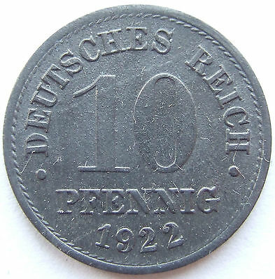 TOP! 10 Pf 1922 in BANKFRISCH / STEMPELGLANZ !!!