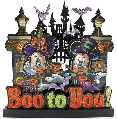 Disney Parks Mickey & Minnie Boo to You Figurine Sign Haunted Mansion Halloween