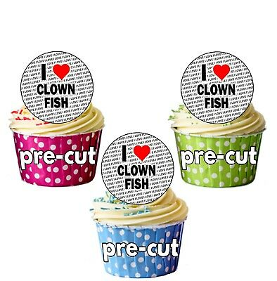 I Love Clown Fish - 24 Edible Cupcake Toppers Cake Precut Circles