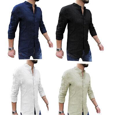 camicia uomo lino slim fit coreana manica lunga Estiva Casual M L XL XXL