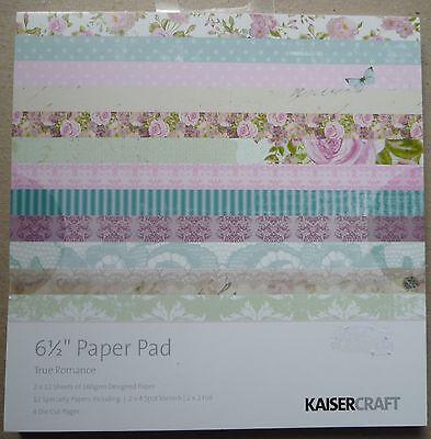 "Kaisercraft Paper Pad 6.5"" x 6 1/2"" True Romance, 40 sheets  for sale  Newton Abbot"