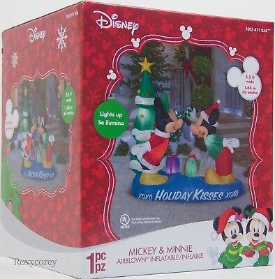 Christmas Disney 5.5 ft Mickey Minnie Mouse MIstletoe Scene Airblown Inflatable