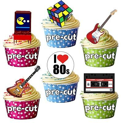 PRECUT 1980 80's Retro Party Themed Edible Cupcake Toppers Cake Decorations (80s Themed Cakes)