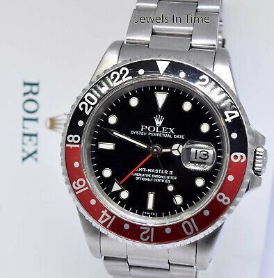 Rolex GMT-Master II Steel Black/Red Coke Bezel Mens 40mm Watch X 16710