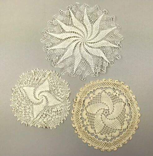 "Vintage Lot of 3 Hand Crocheted Round Doilies 8"" 10"" 12"""