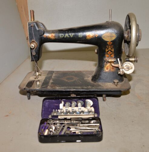 Antique Davis sewing machine collectible early odd for restoration & attachments