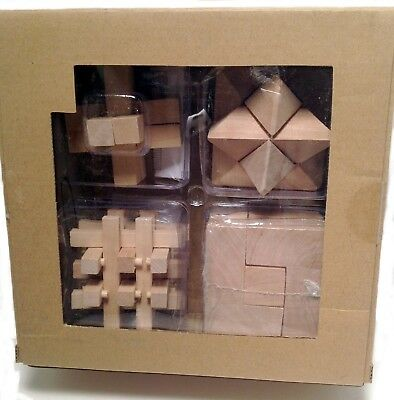 Wood Cube - Brain Teaser Wood Cube Puzzles 4 pack