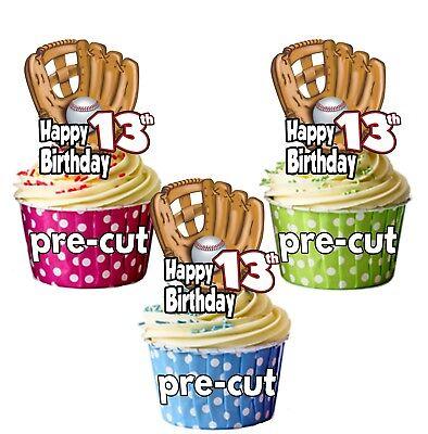 PRECUT Baseball Glove 12 Cup Cake Toppers Birthday Decorations ANY AGE 1 to 115 (Baseball Glove Cupcakes)