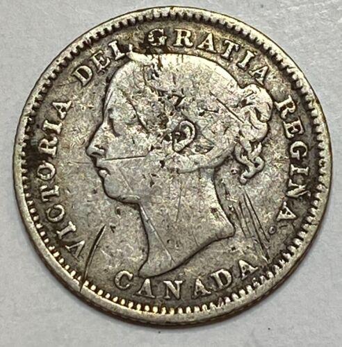1896 CANADA 10 Cent Silver Dime Victoria RARE !! LOW MINTAGE 650,000 !!