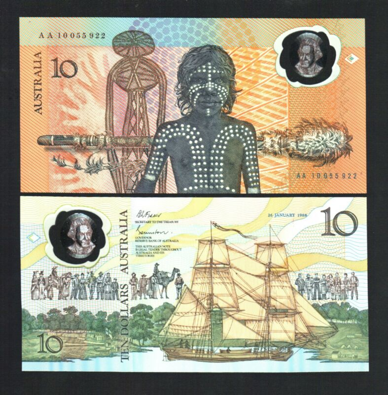 AUSTRALIA 10 DOLLARS P49 A 1988 WORLD 1st POLYMER UNC AA SHIP MONEY BANK NOTE