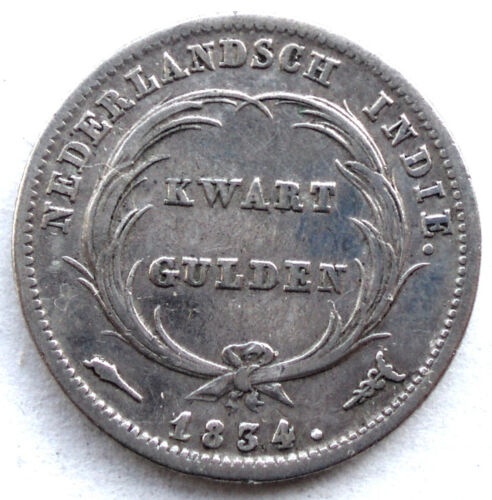 NETHERLANDS EAST INDIES 1/4 GULDEN 1834 KM#301.1 Silver, William I. LL6.2