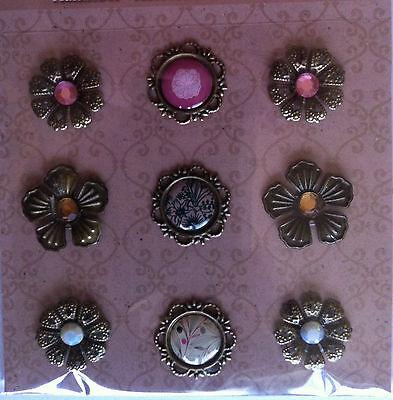 Karten basteln Scrapbooking Vintage Aufkleber Metall 3D Sticker Blumen pink