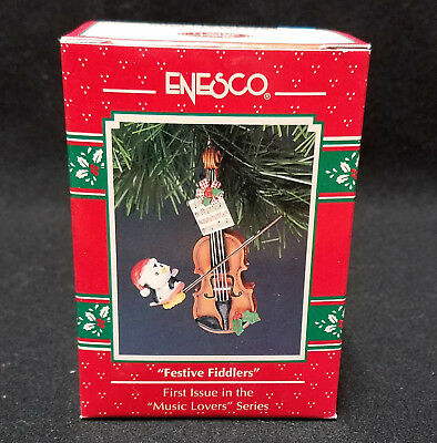 Enesco Ornament Festive Fiddlers 1st in Music Lovers Series NEW 1992 penquin