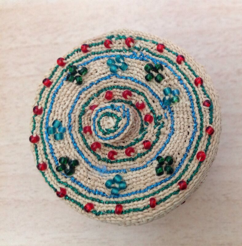 Native Basket Alaska Aleut W/ Red, Green & Blue Beads RARE!