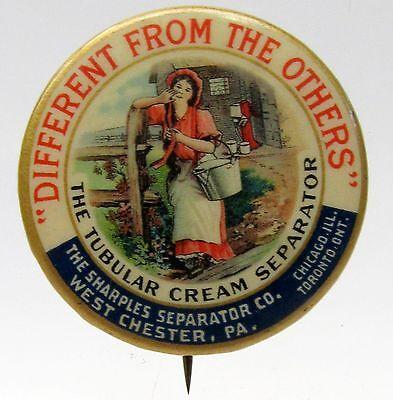 1896 SHARPLES CREAM SEPARATOR Milk Maid leaning on fence Dairy pinback button *