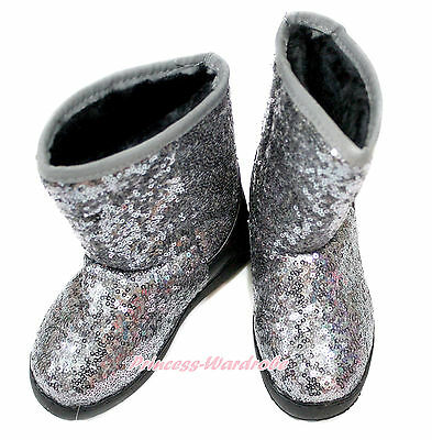 Sparkle Silver Gray Grey Slip On Posh Sequins Boots for Kids Girls Children B-6](Silver Glitter Boots For Girls)