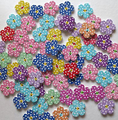 Dot Flowers (MIXED WOODEN FLOWER POLKA DOT PATT 2 HOLE BUTTONS/CRAFT/SEWING 20MM /VAR QTY)