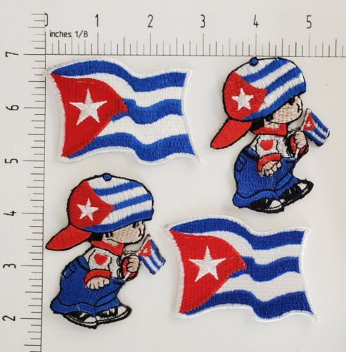 CUBA FLAGS, BOYS  IRON ON or SEW ON PATCHES of 4 PIECE LOT