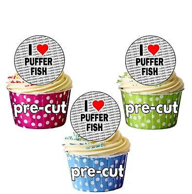 Ich Liebe Puffer Fisch - 24 Essbare Cupcake Topper Kuchen Dekoration ()