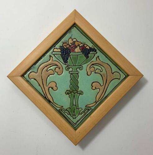"""JB Owens Pottery - Empire Tile 6"""" Cornucopia Arts & Crafts Art Nouveau Colorful"""