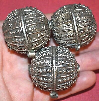 Antique Yemeni Handcrafted Metal Bedouin Ethnic Silver Beads Yemen African Trade