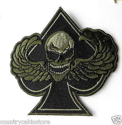 Skull Death Wings Ace Spades Subdued Night Ops Biker Embroidered Patch 3 25 Inch