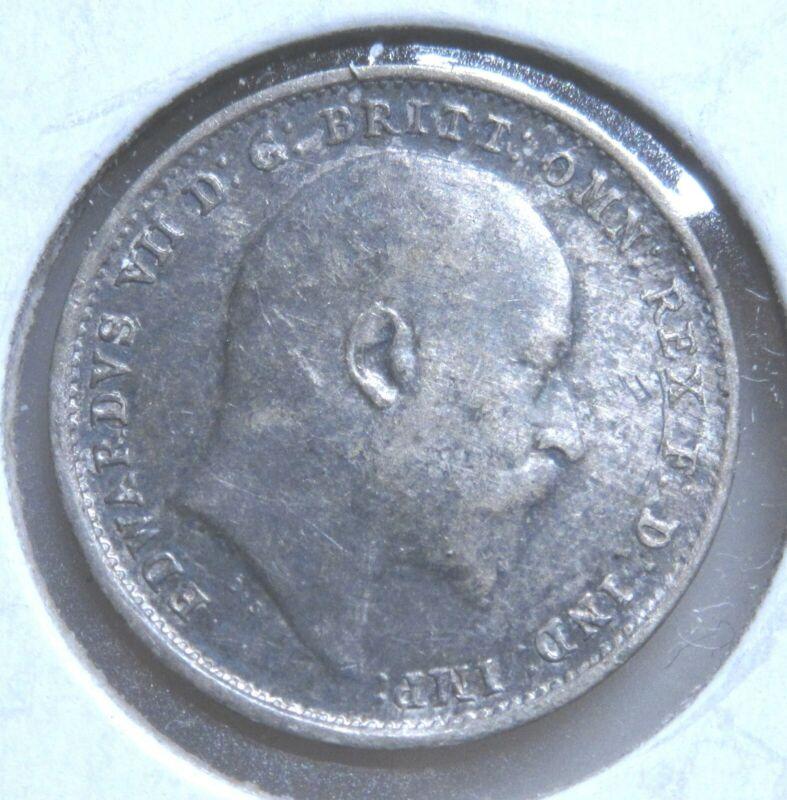 1903 United Kingdom Great Britain Silver 3 Pence-High Grade