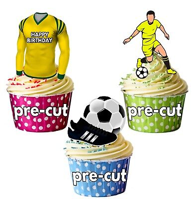 PRECUT Birthday Football Party Pack Cup Cake Toppers Norwich City Colours