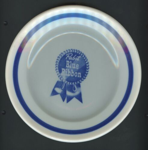 """VINTAGE MCNICOL CHINA PABST BLUE RIBBON 7 1/4"""" PLATE PEORIA HEIGHTS 5 AVAILABLE"""