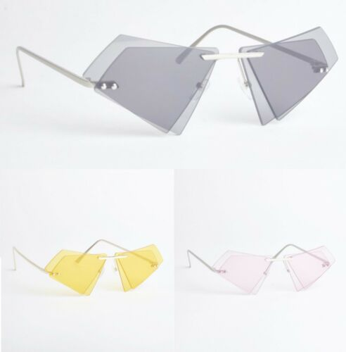 Triangle Shape Ladies Womens Rimless Clear Lens Sunglasses Festival Party New