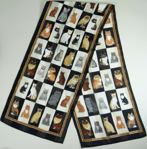 Cat Kitty Scarf Long Rectangle Siamese Tabby Persian Calico Tiger Striped 58x13