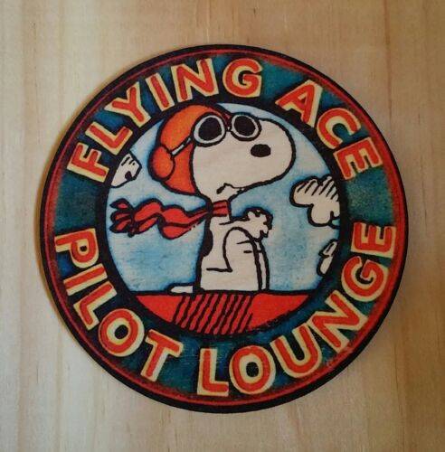 """(4) SNOOPY FLYING ACE WOOD COASTERS (3 1/2"""" DIAMETER) PILOT GIFT AVIATION DECOR"""
